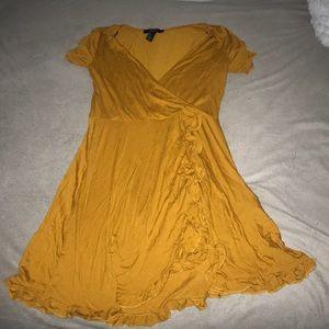 Yellow Frilly Wrap Dress